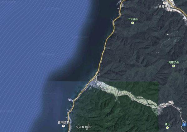 村上市山北地域の上空地図