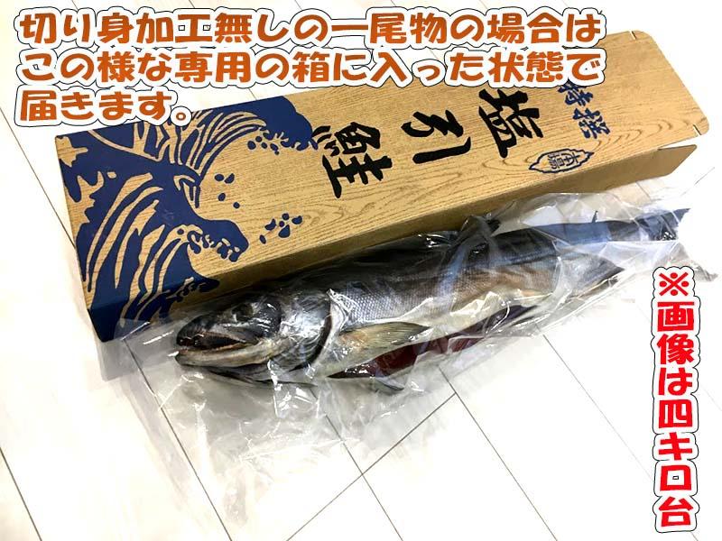 塩引き鮭一尾物が届いた状態