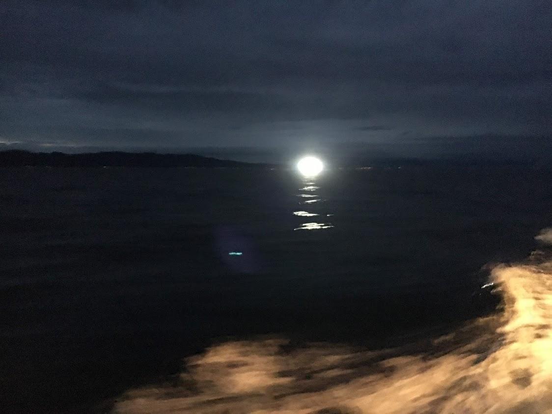 夜間漁に出る漁船