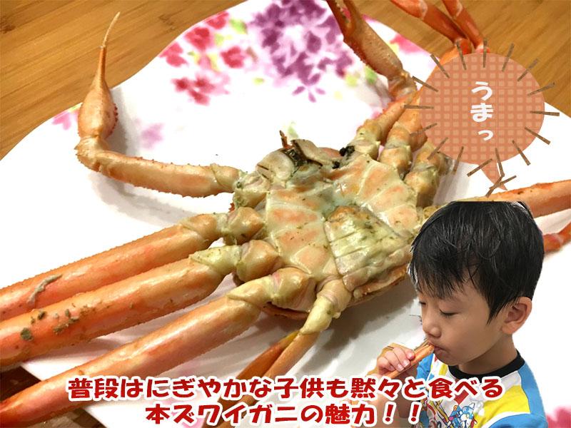 子供も静かに食べる本ズワイガニ